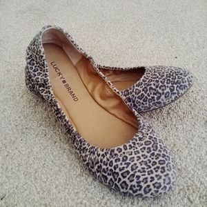 Lucky Brand Suede Leopard Print Ballet Flats